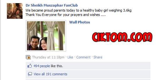 dr sheikh muzaffar dan dr harlina dapat baby girl